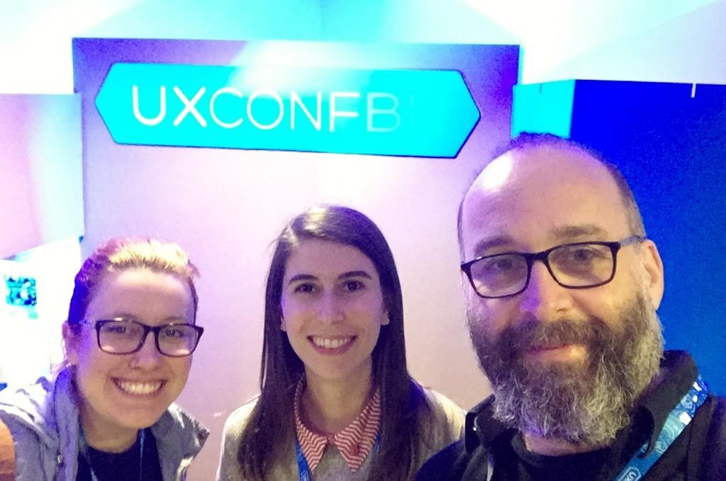 Mariana Pöpper, Flávia Ampessan e Luciano Sclovsky na UXConf 2018.